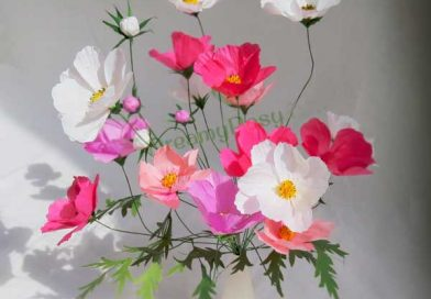 How to DIY paper Cosmos flower, free template