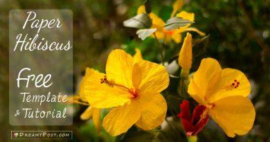paper Hibiscus flower, paper flower, free template, easy paper flower, diy flower, dreamyposy,