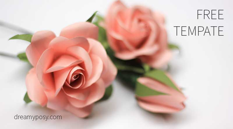 paper rose free template free tutorial