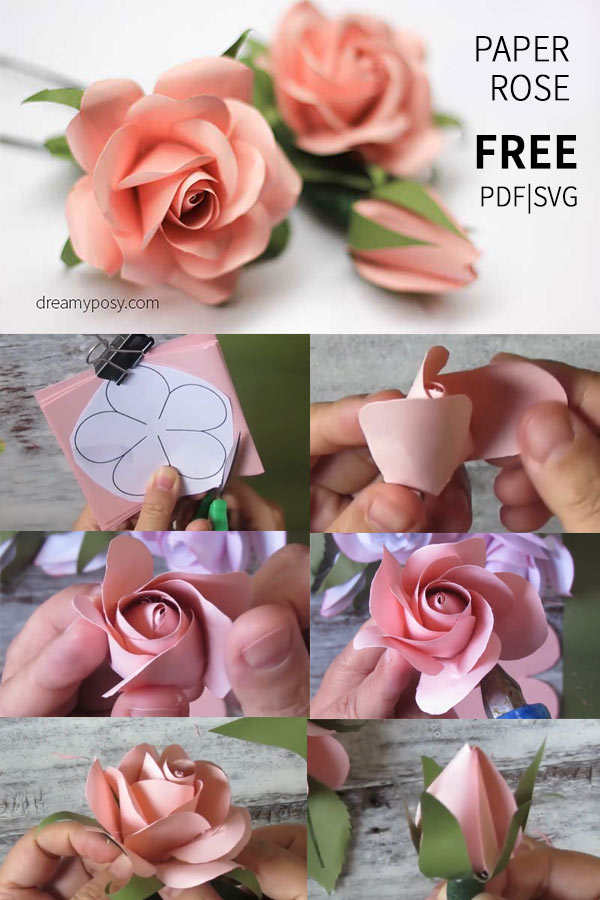 Easy tutorial to make a paper rose free template paper rose free template and tutorial paper flower templates paper flower tutorials mightylinksfo