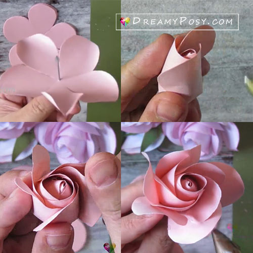 Paper rose free template and tutorial, paper flower templates, paper flower tutorials, #paperflower #flowertemplate #flowertutorial