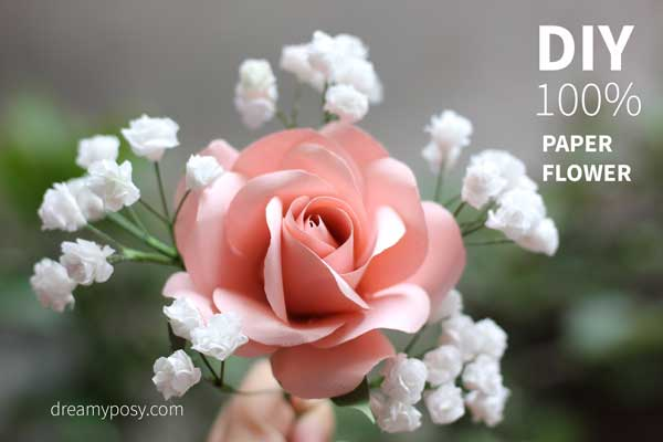 Easy tutorial to make a paper rose free template and learn how to make a bridal paper bouquet of foliage and greenery from these roses mightylinksfo