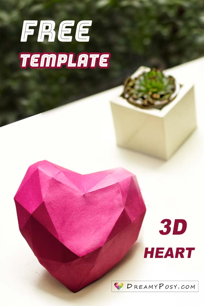 Free template to make 3D heart shape, include step by step video tutorial #paperheart #3dheart #freetemplate