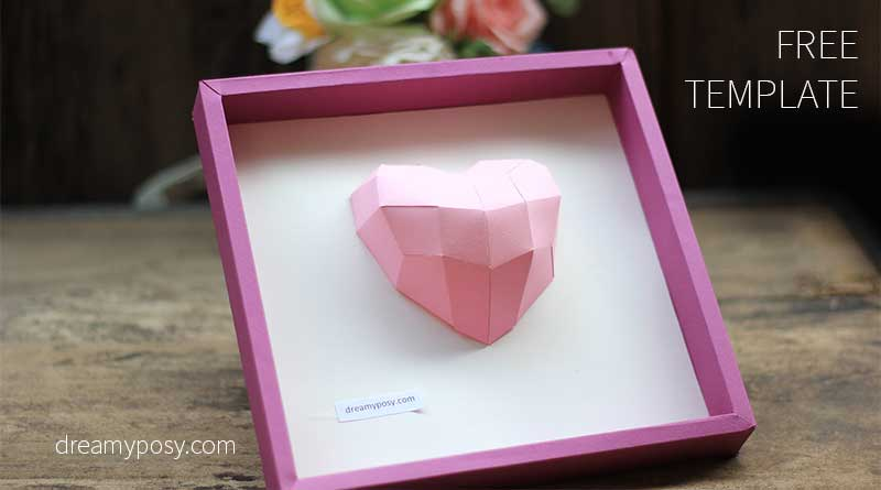 3D heart frame: free template and tutorial, diy gift, diy decor