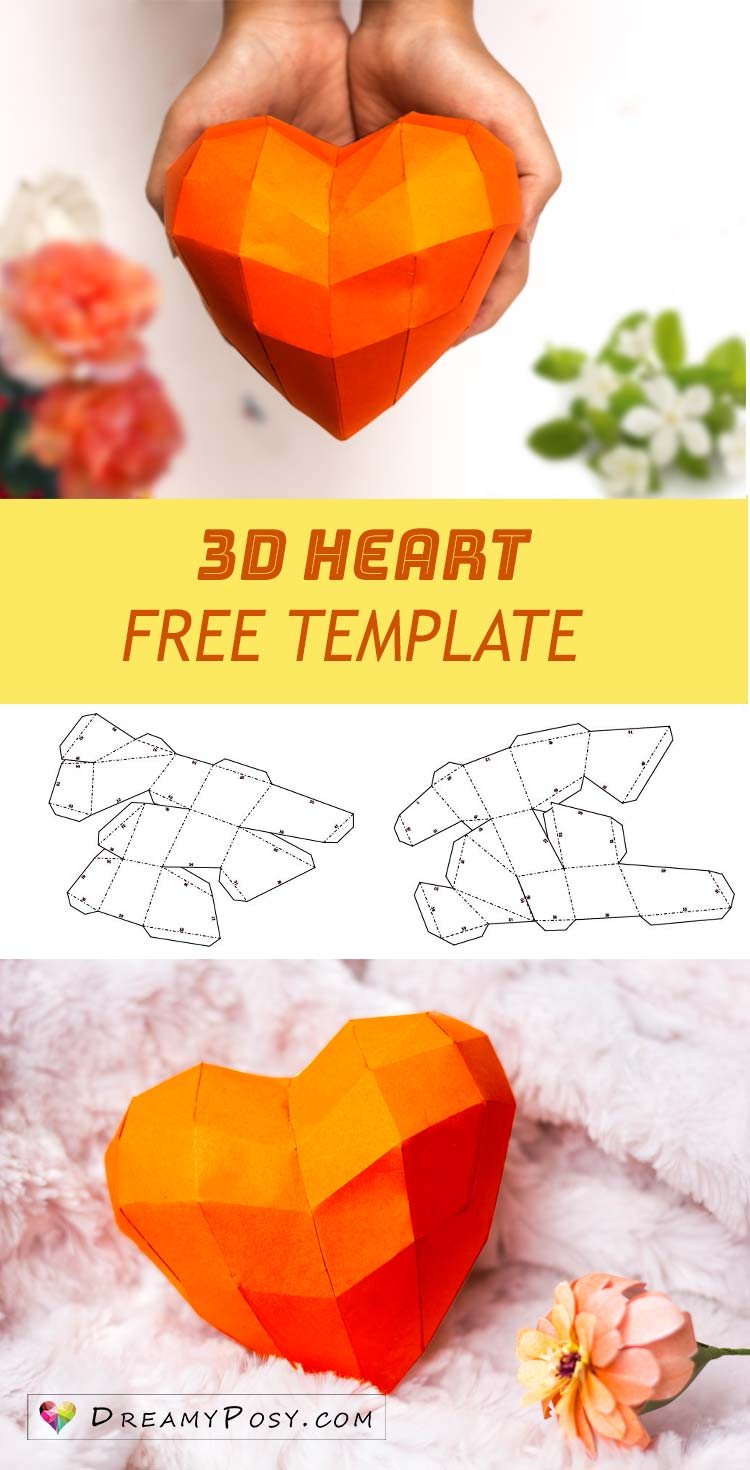 Free template to make 3d heart for Valentine's Day #paperheart #3dheart # 3dhearttemplate #valentinegift
