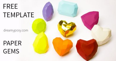 paper gems, paper craft, free template