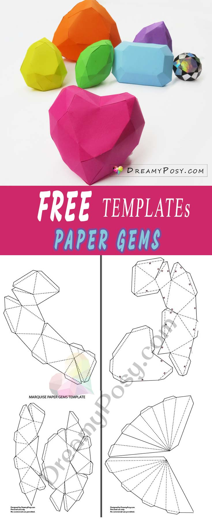 How To Make 3d Paper Gems Collection Free Templates And Tutorial