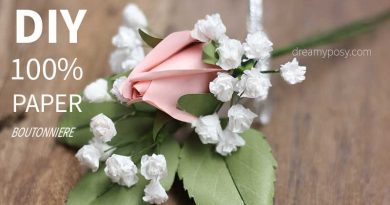 Paper boutonniere, paper rose, free template and tutorial