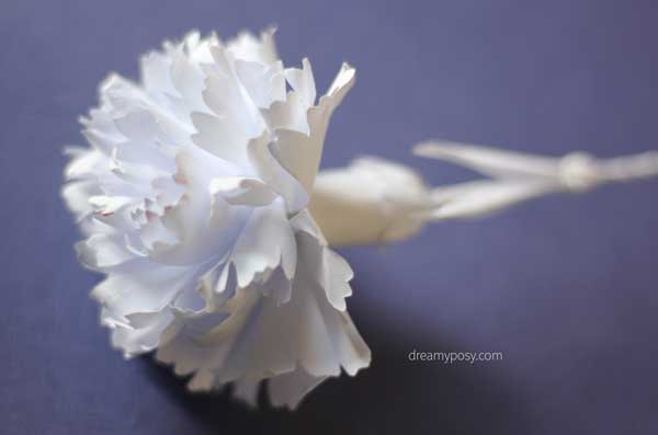 How to make carnation paper flower free template easy i also tried to make paper carnation with regular printer paper here so making a pure white bouquet is also a lovely choice mightylinksfo