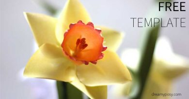 paper daffodil, paper flower, free template