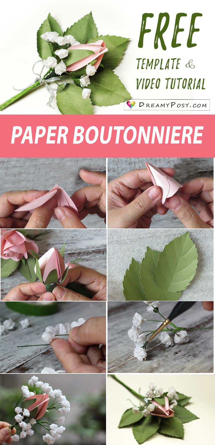 How To Make Paper Boutonniere From Ordinary Paper Free Template