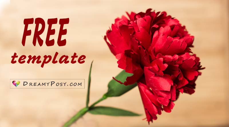 Free template and tutorial to make paper Carnation, paper flowers tutorial, flower making tutorial #paperflowers #freetemplate