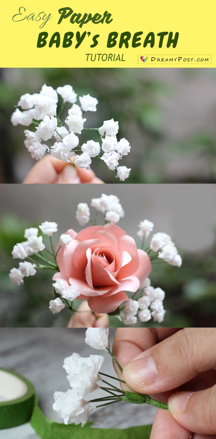 Super simple and realistic to make baby breath paper flower paper baby breath tutorial so easy so realistic paperflower paperflowers flowertutorial mightylinksfo