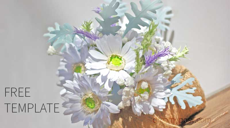 How to make Gerbera paper bouquet from copier paper, FREE template