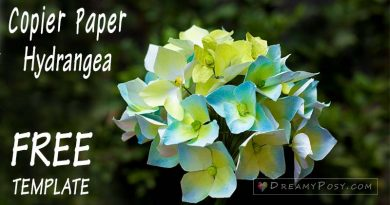Free template and tutorial to make Hydrangea paper flower , paper flowers, flower making, free tutorial, free template