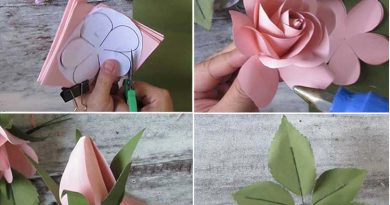 DIY paper wedding bouquet of roses, FREE template
