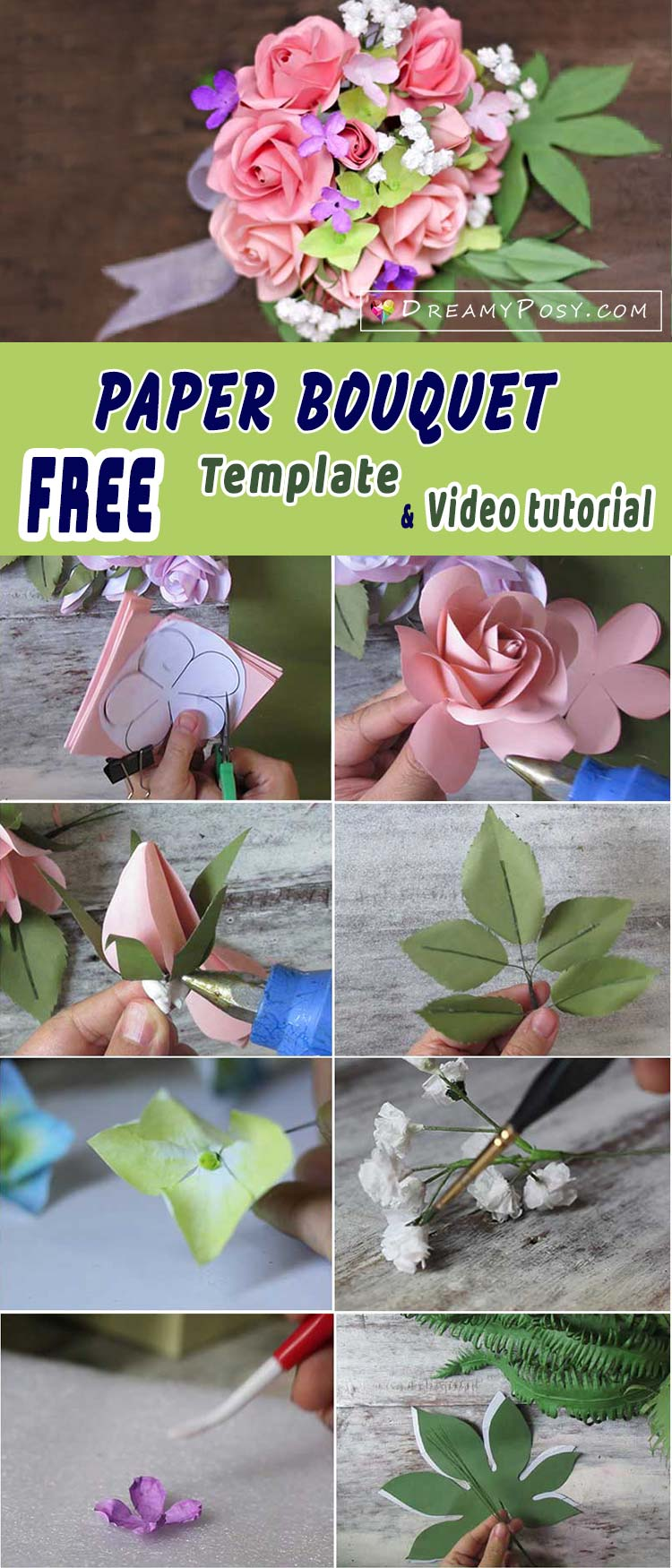 How to make rose paper bouquet free template and full tutorial free template and tutorial to make paper rose bouquet rose paper bouquet paper rose izmirmasajfo