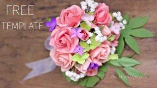 How to make rose paper bouquet, FREE template