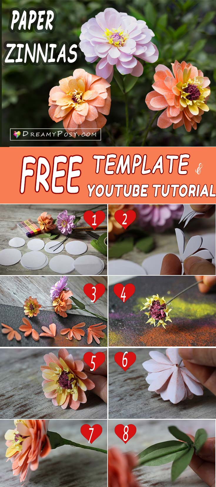 This is free template and tutorial to make paper Zinnias flower