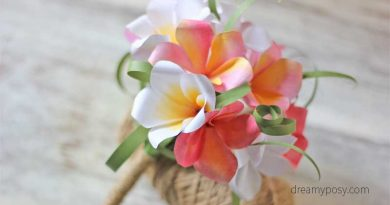 Plumeria paper bouquet, paper flower, free template, free tutorial