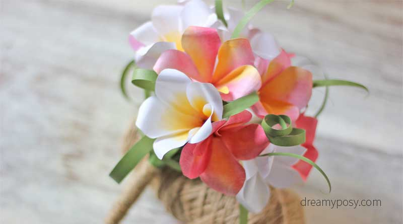 How to make plumeria paper bouquet fast and easy free template plumeria paper bouquet paper flower free template free tutorial mightylinksfo