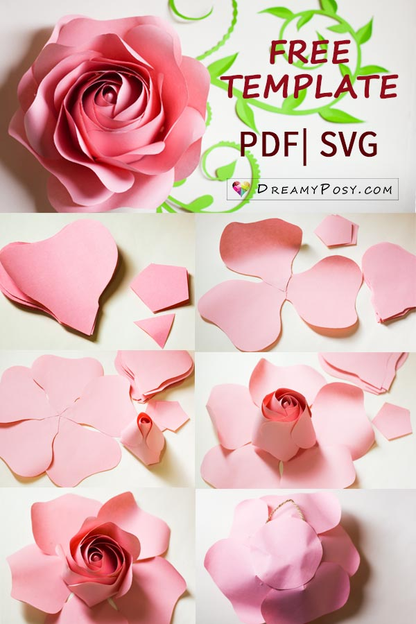 Free template and full tutorial to make giant rose for for Boring but big template