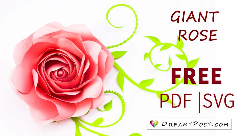 Giant rose template and tutorial, all are free #paperflowers #papercrafts