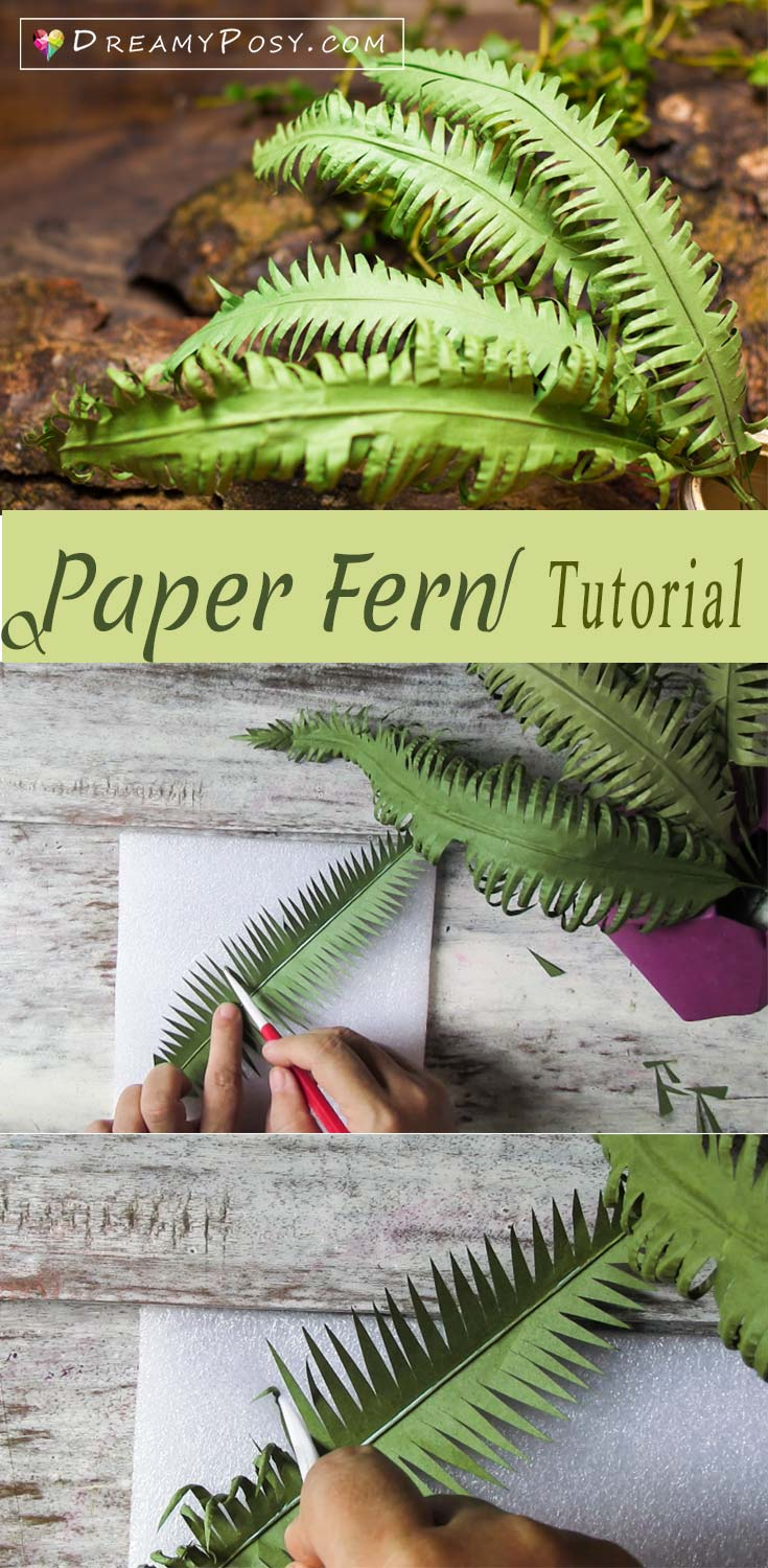 Paper fern tutorial, so easy, paper leaves, paper flower #paperflowers