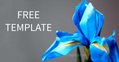 paper iris, paper flower, free template, free tutorial