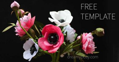 paper anemone, paper flower, free template, free tutorial