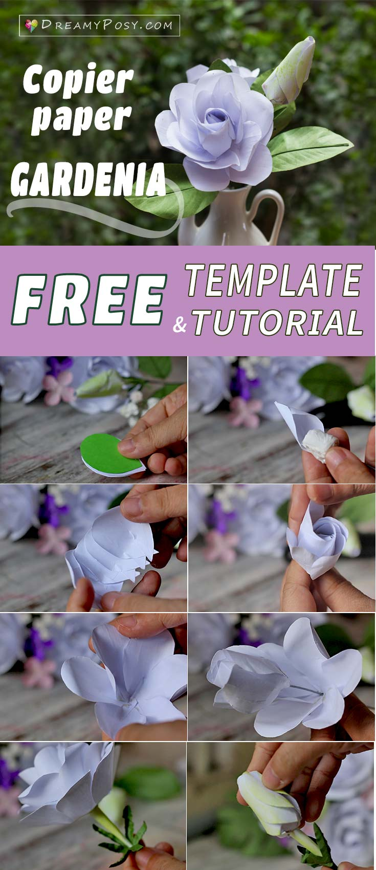 How To Make Gardenia Paper Flower And Foliage Free Template