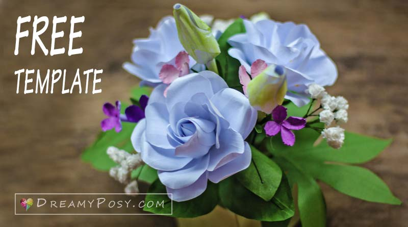 Paper Gardenia flower, free template and tutorial, paper flowers from copier paper, flower making tutorial