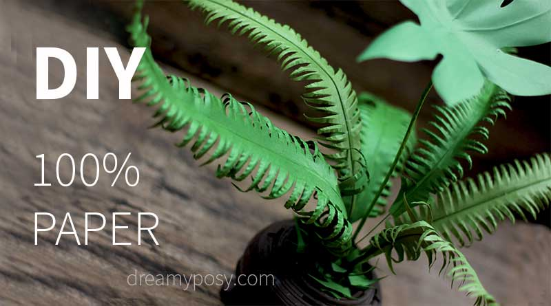 Paper greenery tutorial, FREE template