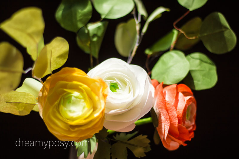 Paper Ranunculus flower with free template and tutorial, made from coffee filter