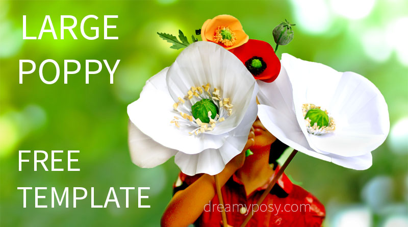 Large paper poppy flower free tutorial and template giant flower free template mightylinksfo