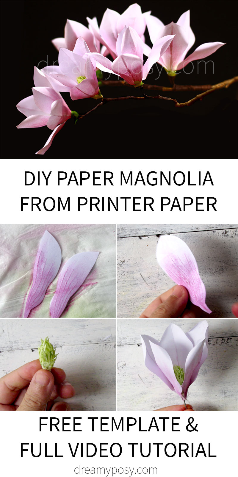 paper magnolia tutorial, paper flower, free template