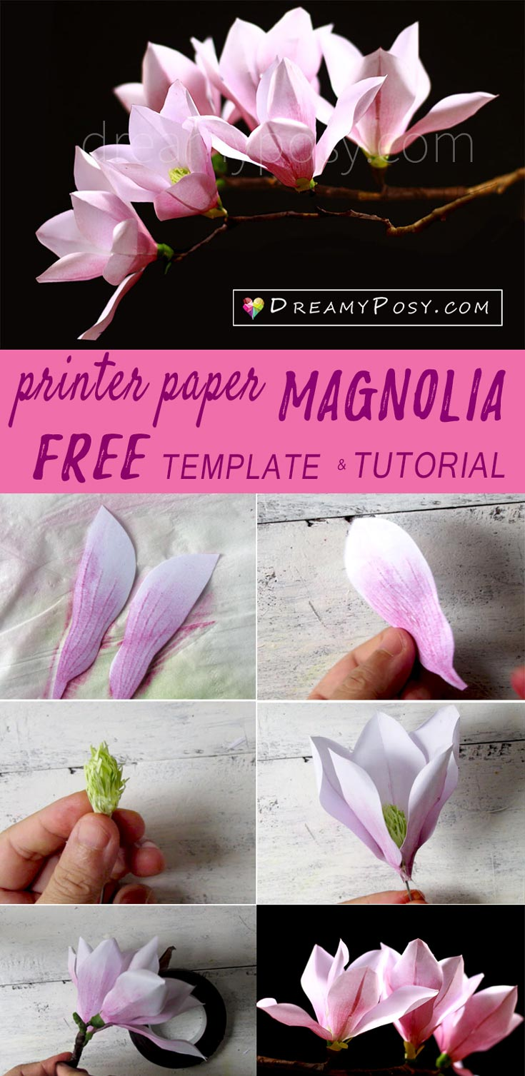 Paper Magnolia tutorial with free template, made from printer paper #paperflower #flowertutorial
