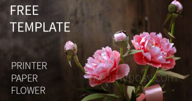 paper peony tutorial, free template, paper flower tutorial