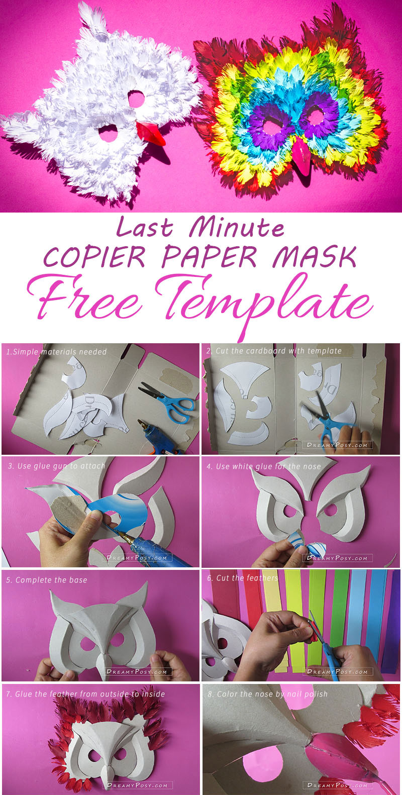 How To Make 3d Owl Paper Mask From Recycles Free Template