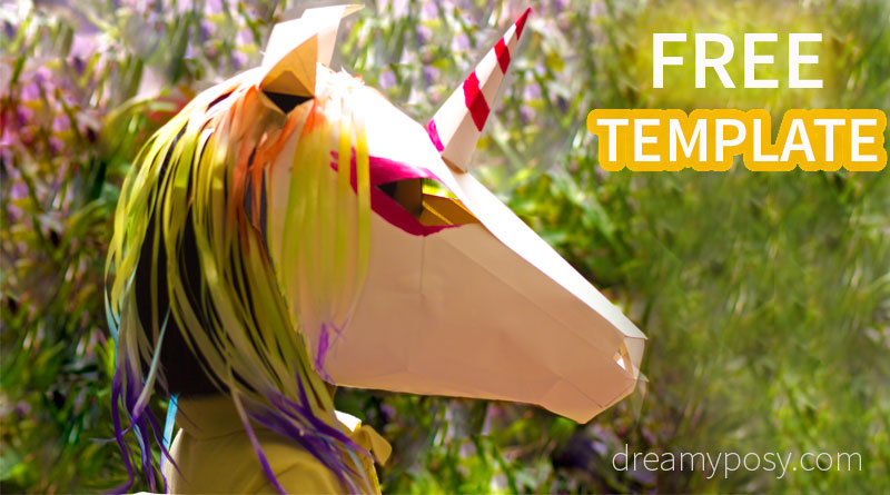 paper mask, 3d paper mask, unicorn mask, free template