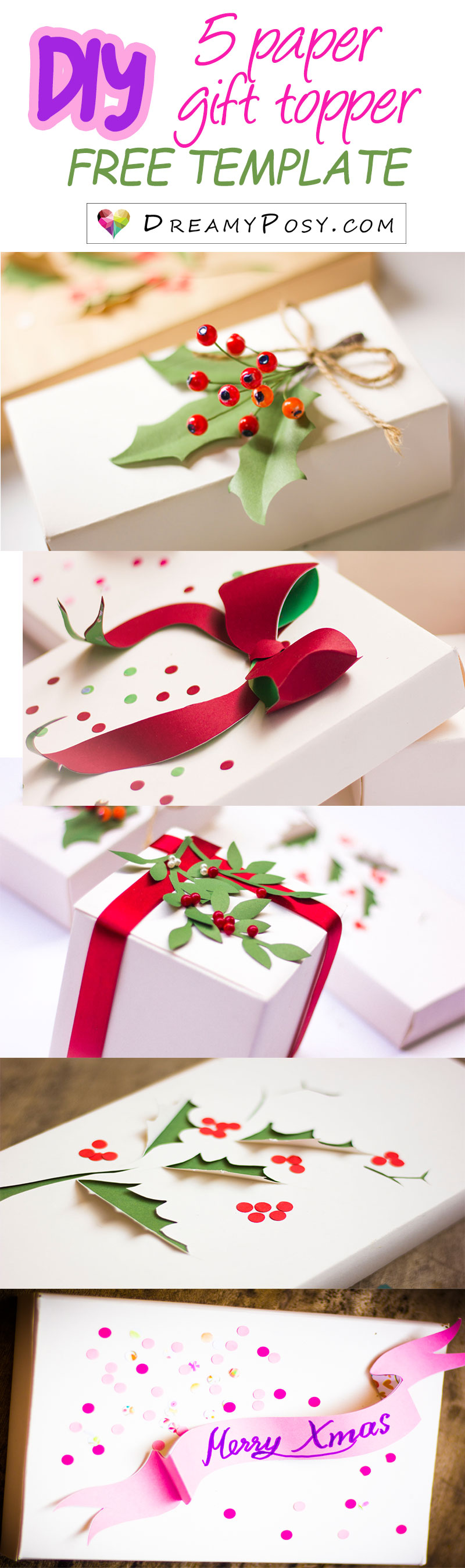 5 christmas gift topper step by step tutorial free template xmas gift topper xmas wrapping xmas gifts personalize gift negle Images