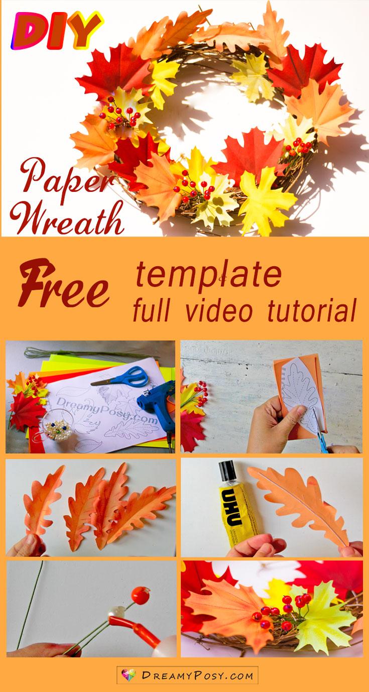 Paper wreath tutorial, with free template, so easy #paperflower #flowertutorial