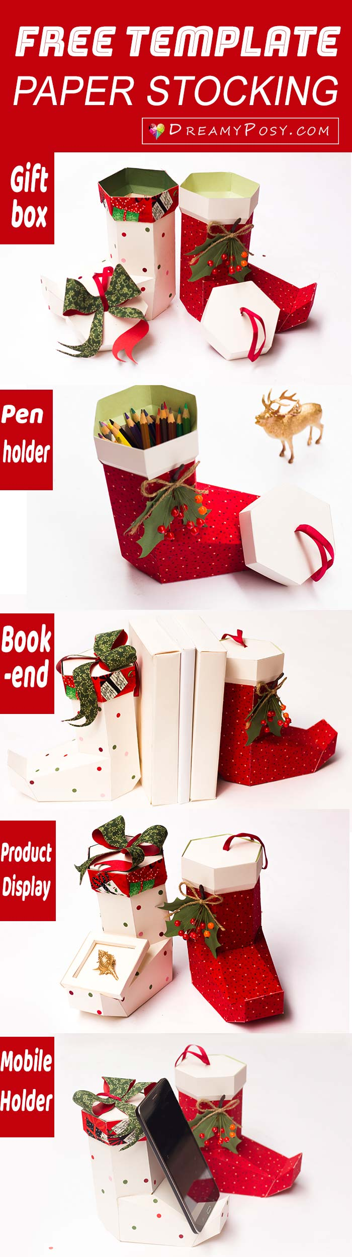 Paper Christmas stocking, free template and tutorial #Christmas stocking #freebies #freeprintable