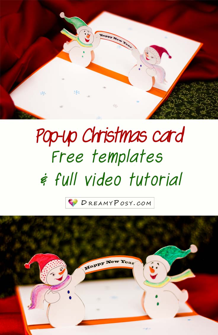 How to make pop-up Christmas card, free template