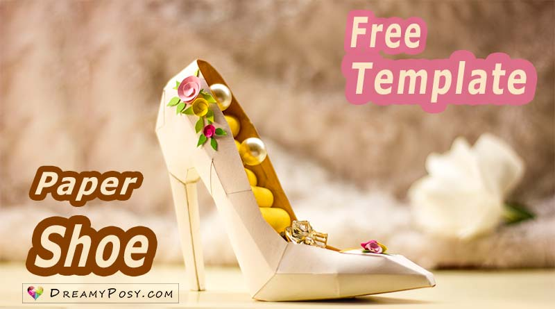 paper shoe template, paper high heel shoe, free template, step by step video tutorial