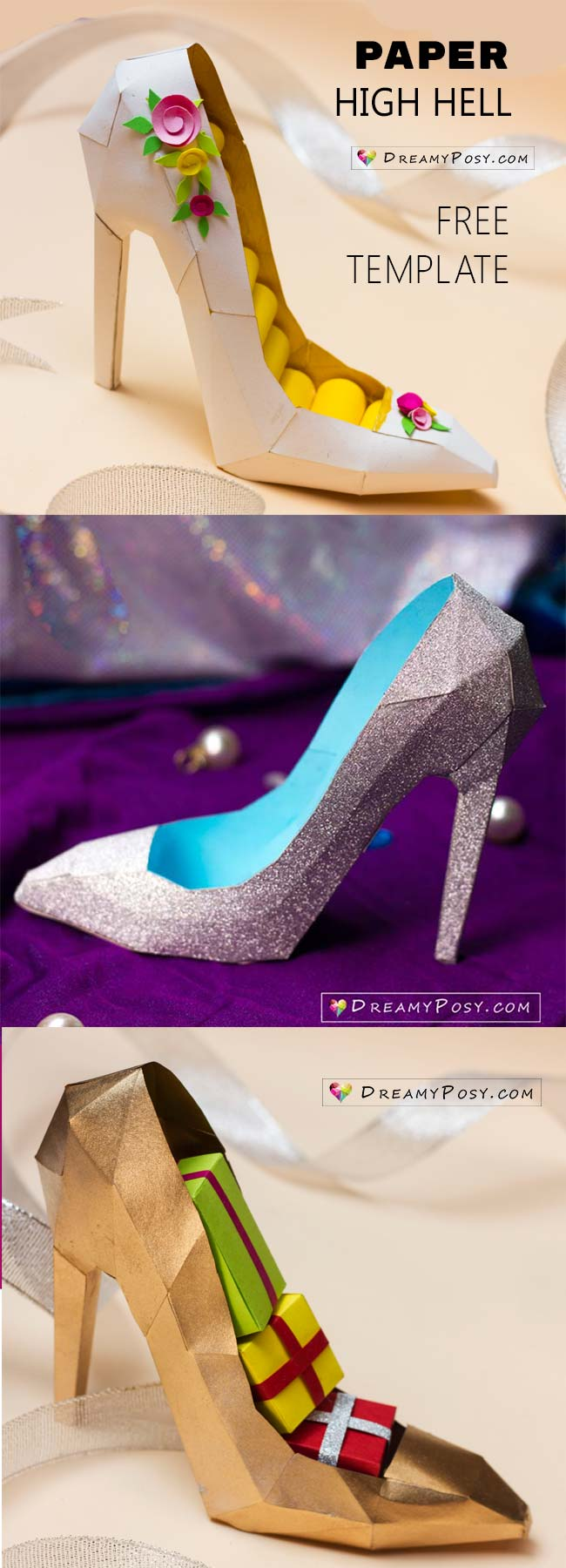 3D Paper Shoe With Free Templateand Video Tutorial Shoetemplate Paperhighheel Papershoe