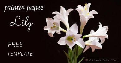 Paper Easter Lily tutorial with free template, made from printer paper #paperflower #flowertutorial