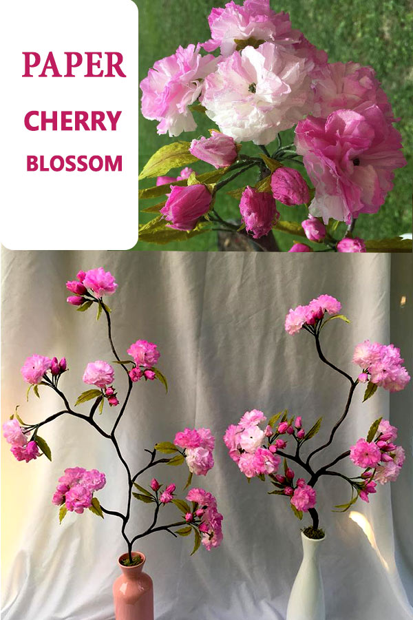 Paper cherry blossom tutorial #paperflower #flowertutorial #easycraft