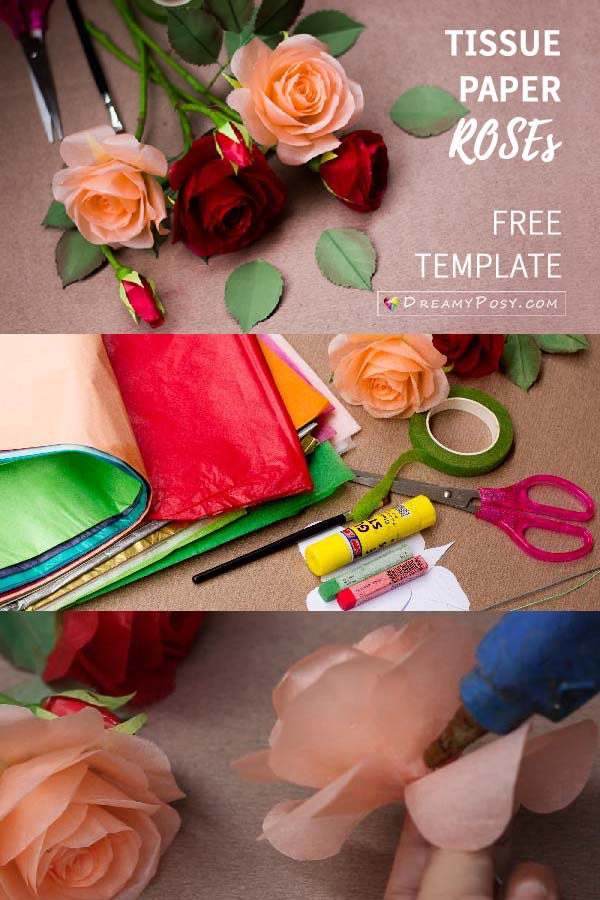 Tissue paper rose tutorial, with free template #paperrose #rosetutorial #rosemaking #paperflower #flowermaking #flowertemplate