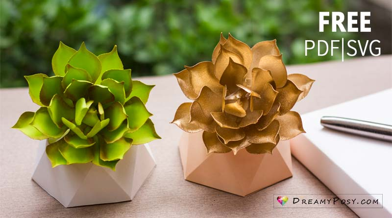 Paper succulent free template (pdf, svg) and tutorial, #paperflower #papersucculent #flowertutorial #flowertemplate